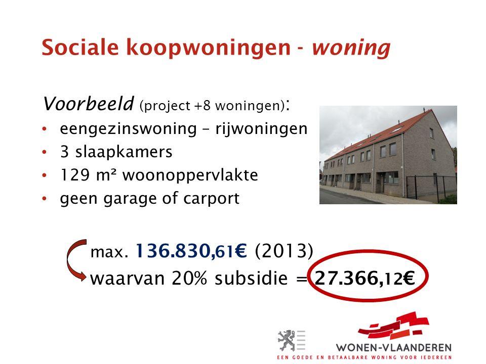 Sociale koopwoningen - woning Voorbeeld (project +8 woningen) : eengezinswoning – rijwoningen 3 slaapkamers 129 m² woonoppervlakte geen garage of carport max.