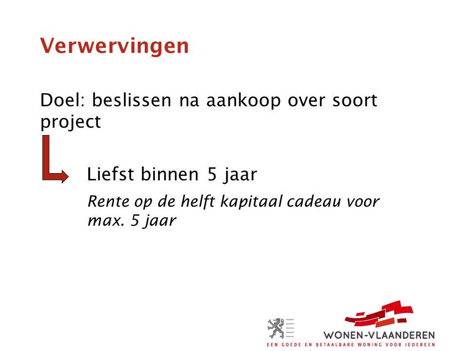Verwervingen Doel: beslissen na aankoop over soort project Liefst binnen 5 jaar Rente op de helft kapitaal cadeau voor max.