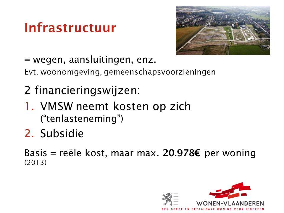 Infrastructuur = wegen, aansluitingen, enz. Evt.