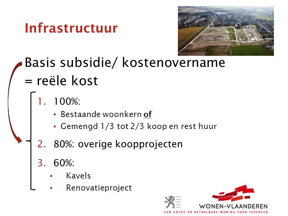 Infrastructuur Basis subsidie/ kostenovername = reële kost 1.100%: Bestaande woonkern of Gemengd 1/3 tot 2/3 koop en rest huur 2.80%: overige koopprojecten 3.60%: Kavels Renovatieproject