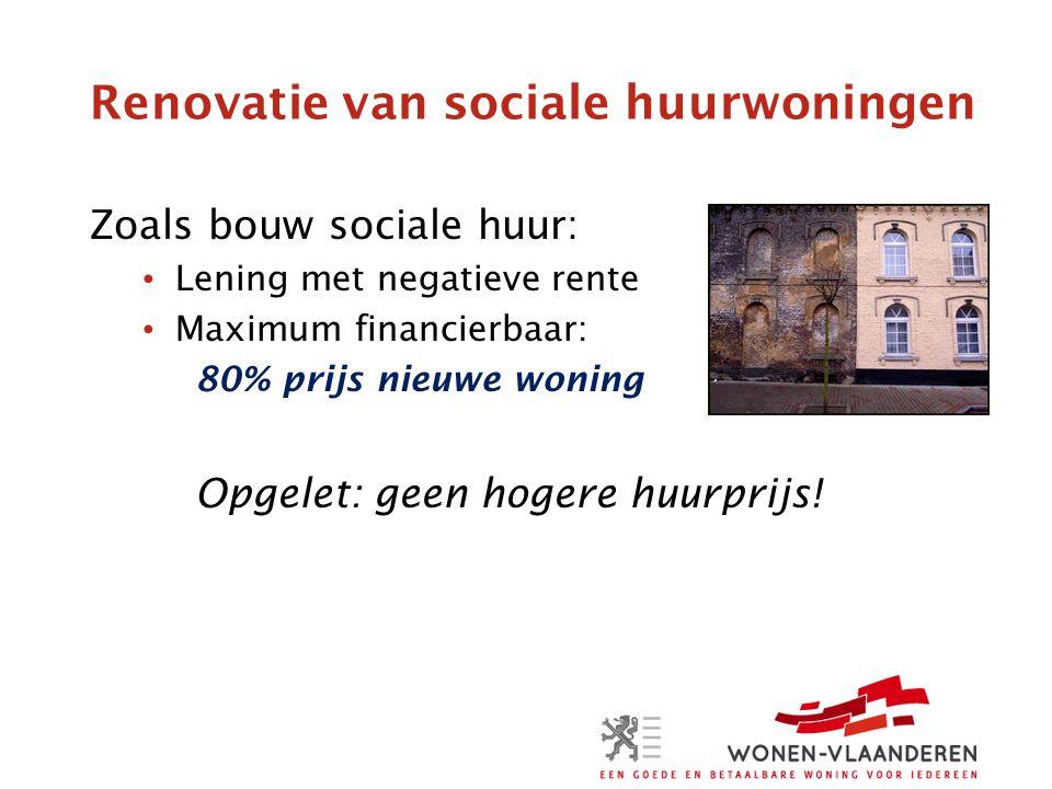 Renovatie van sociale huurwoningen Zoals bouw sociale huur: Lening met negatieve rente Maximum financierbaar: 80% prijs nieuwe woning Opgelet: geen hogere huurprijs!