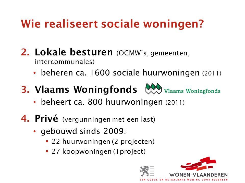 Wie realiseert sociale woningen. 2.Lokale besturen (OCMW's, gemeenten, intercommunales) beheren ca.