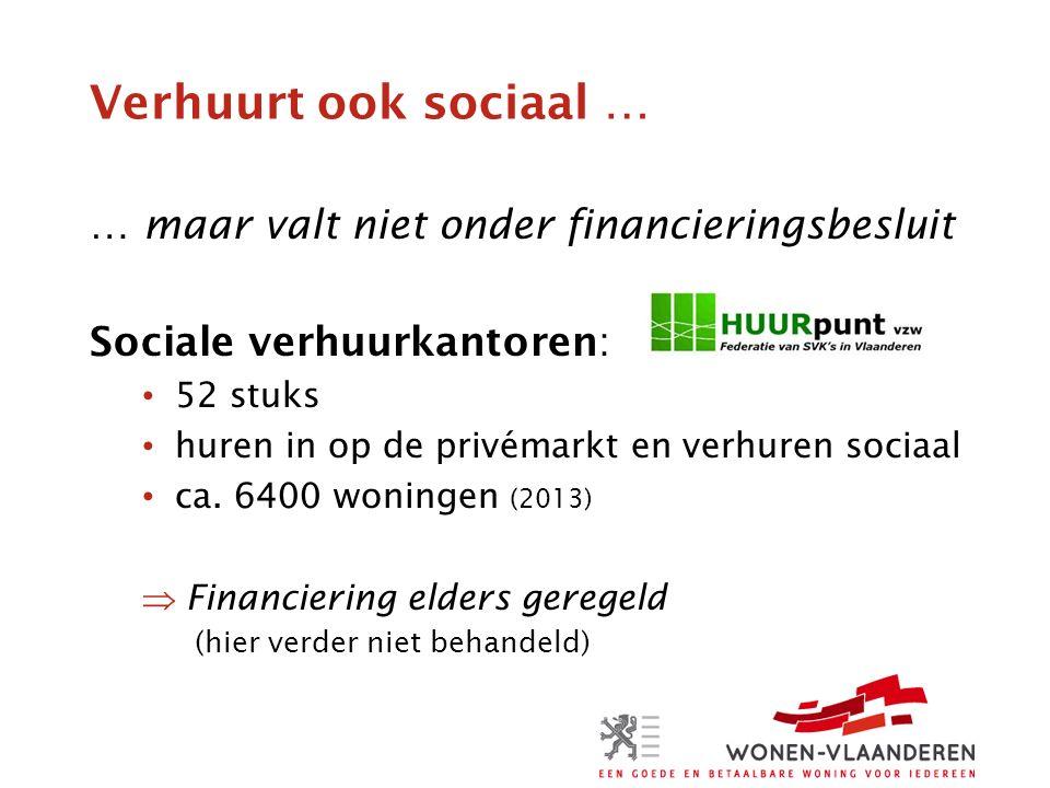Verhuurt ook sociaal … … maar valt niet onder financieringsbesluit Sociale verhuurkantoren: 52 stuks huren in op de privémarkt en verhuren sociaal ca.