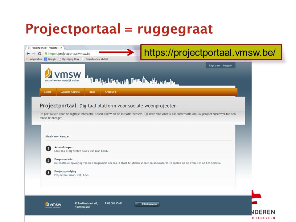 Projectportaal = ruggegraat https://projectportaal.vmsw.be/