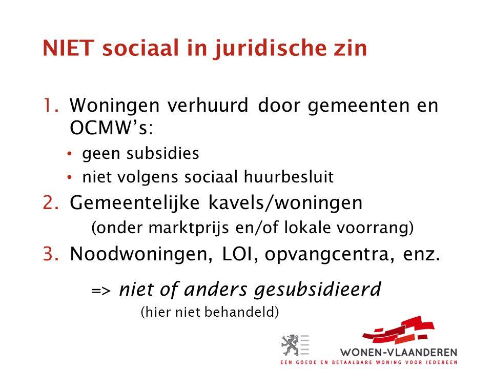 NIET sociaal in juridische zin 1.Woningen verhuurd door gemeenten en OCMW's: geen subsidies niet volgens sociaal huurbesluit 2.Gemeentelijke kavels/woningen (onder marktprijs en/of lokale voorrang) 3.Noodwoningen, LOI, opvangcentra, enz.