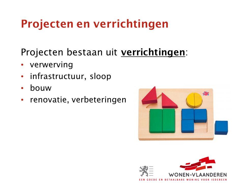 Projecten en verrichtingen Projecten bestaan uit verrichtingen: verwerving infrastructuur, sloop bouw renovatie, verbeteringen