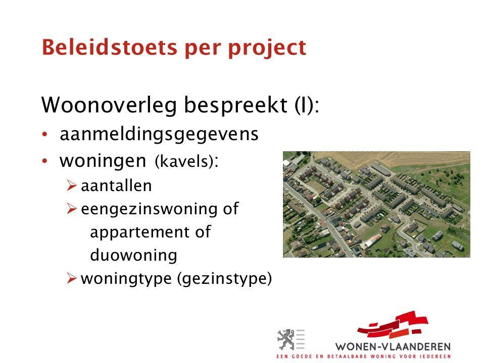 Beleidstoets per project Woonoverleg bespreekt (I): aanmeldingsgegevens woningen (kavels) :  aantallen  eengezinswoning of appartement of duowoning  woningtype (gezinstype)