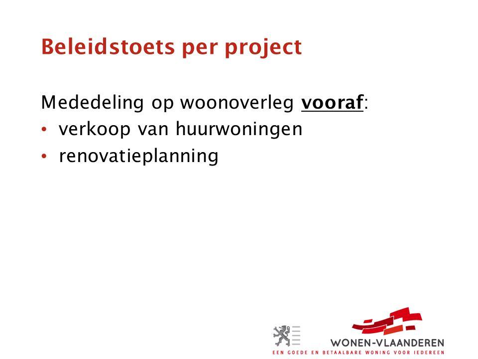 Beleidstoets per project Mededeling op woonoverleg vooraf: verkoop van huurwoningen renovatieplanning