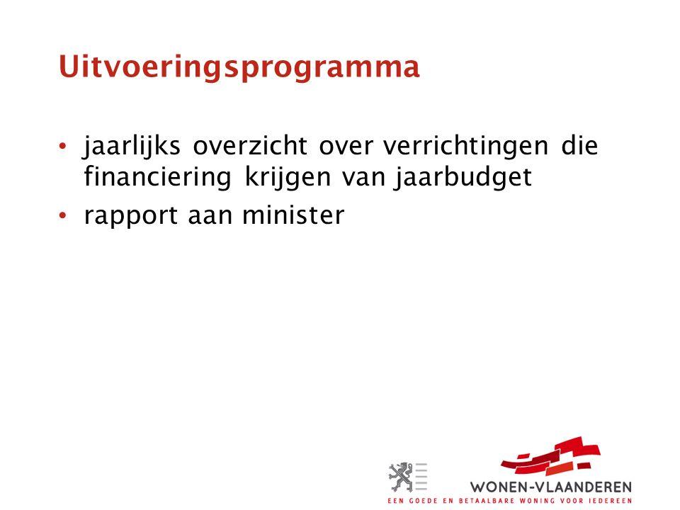 Uitvoeringsprogramma jaarlijks overzicht over verrichtingen die financiering krijgen van jaarbudget rapport aan minister