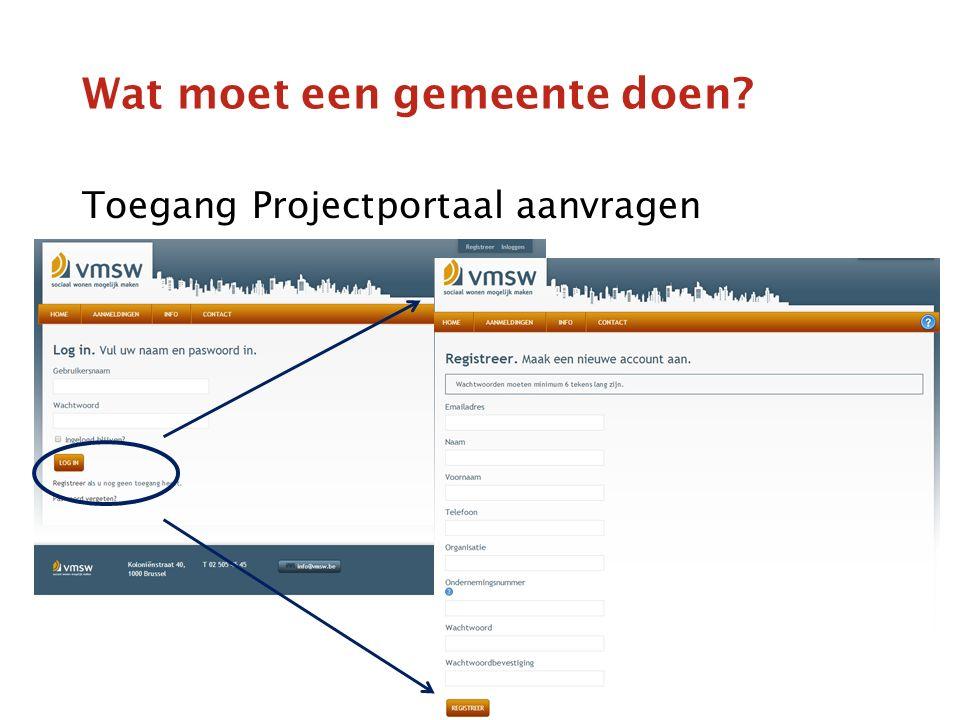 Wat moet een gemeente doen Toegang Projectportaal aanvragen