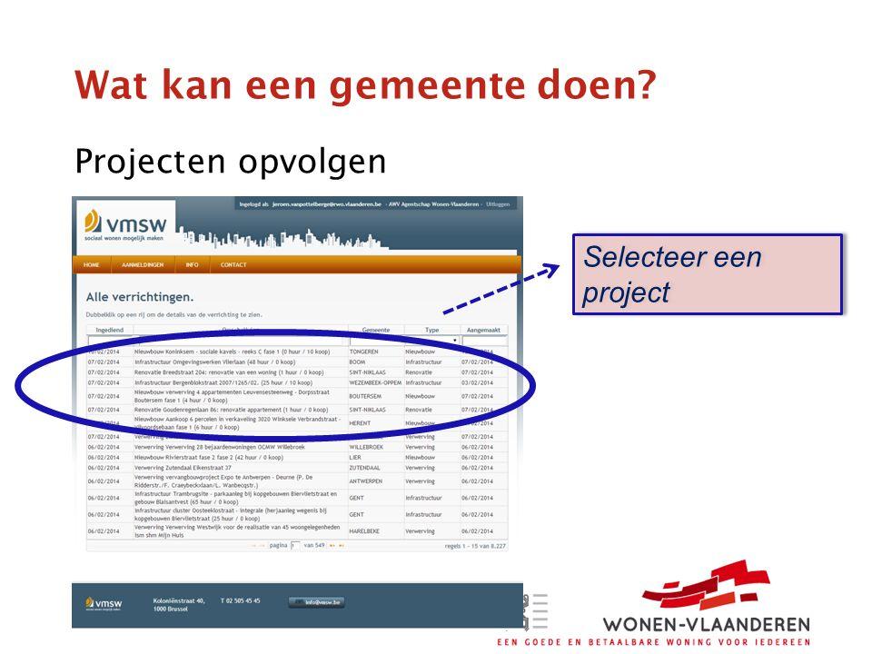 Wat kan een gemeente doen Projecten opvolgen Selecteer een project