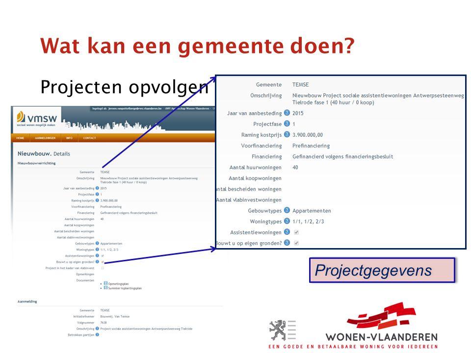 Wat kan een gemeente doen Projecten opvolgen Projectgegevens