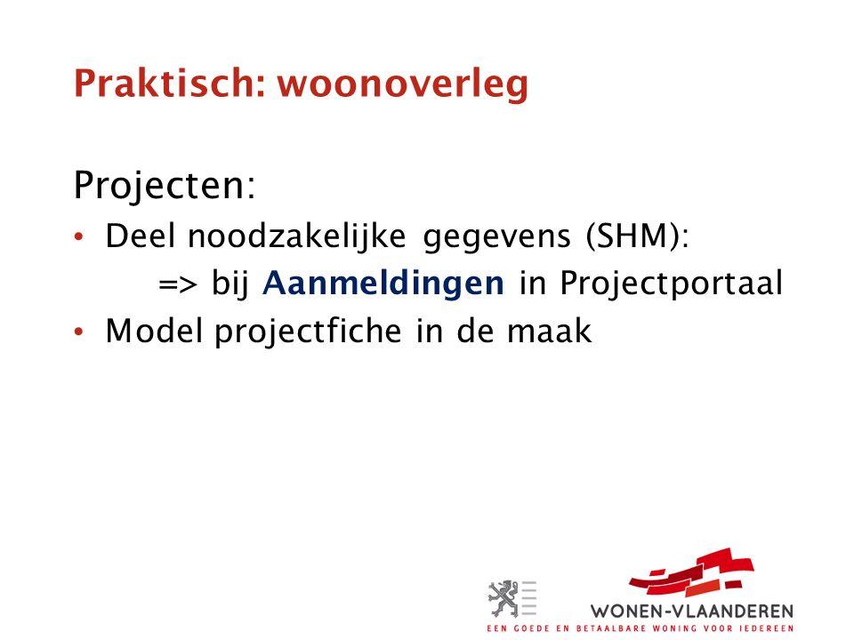 Praktisch: woonoverleg Projecten: Deel noodzakelijke gegevens (SHM): => bij Aanmeldingen in Projectportaal Model projectfiche in de maak