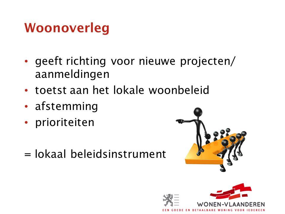 Woonoverleg geeft richting voor nieuwe projecten/ aanmeldingen toetst aan het lokale woonbeleid afstemming prioriteiten = lokaal beleidsinstrument