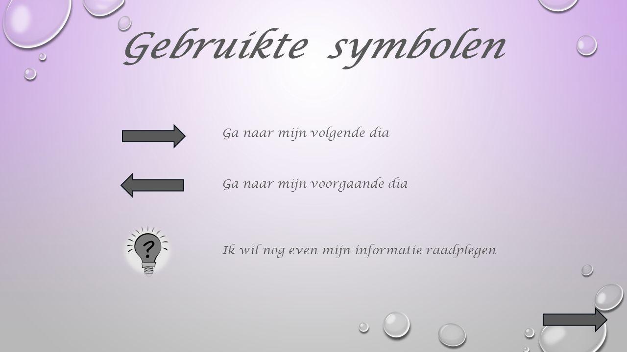 Gebruikte symbolen Ga naar mijn volgende dia Ga naar mijn voorgaande dia Ik wil nog even mijn informatie raadplegen