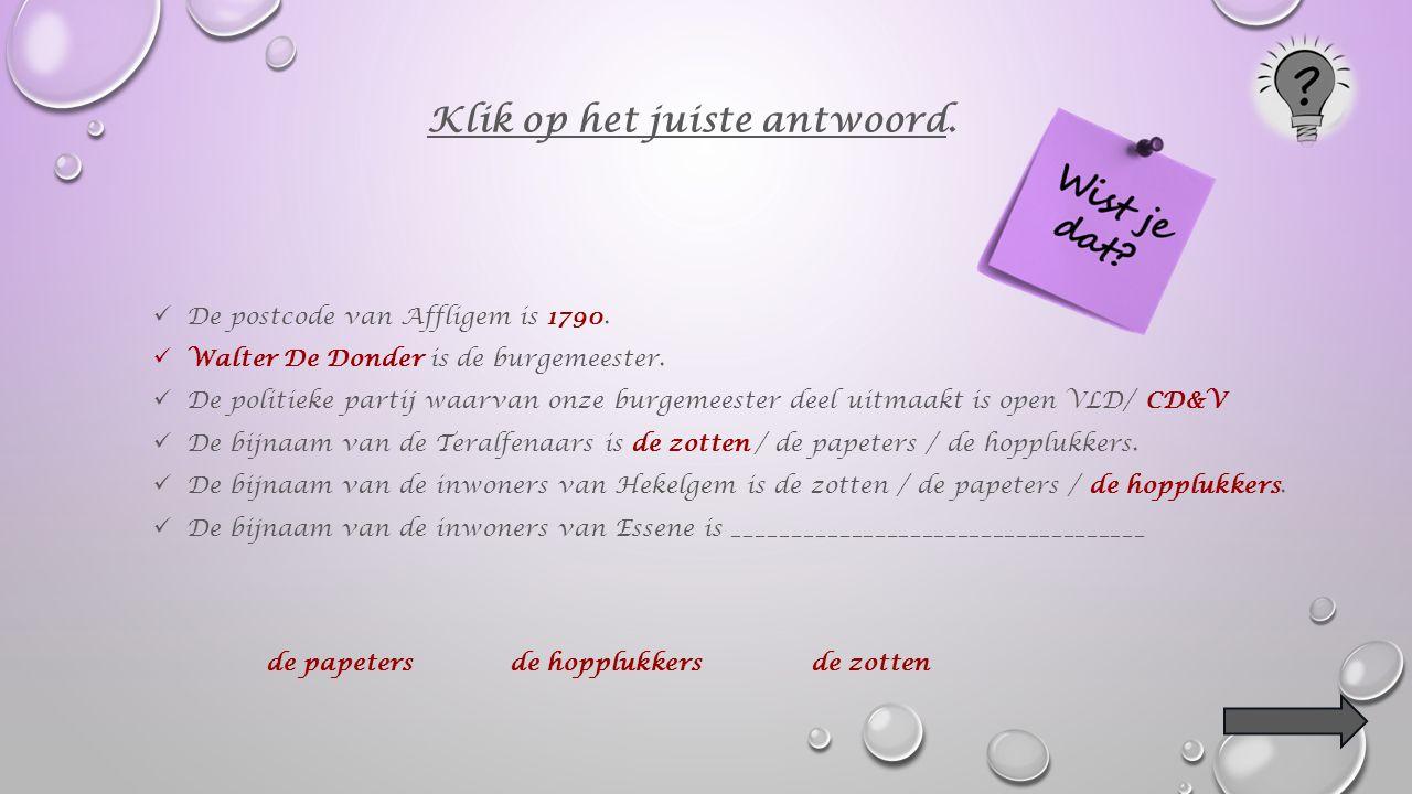 De postcode van Affligem is 1790. Walter De Donder is de burgemeester.