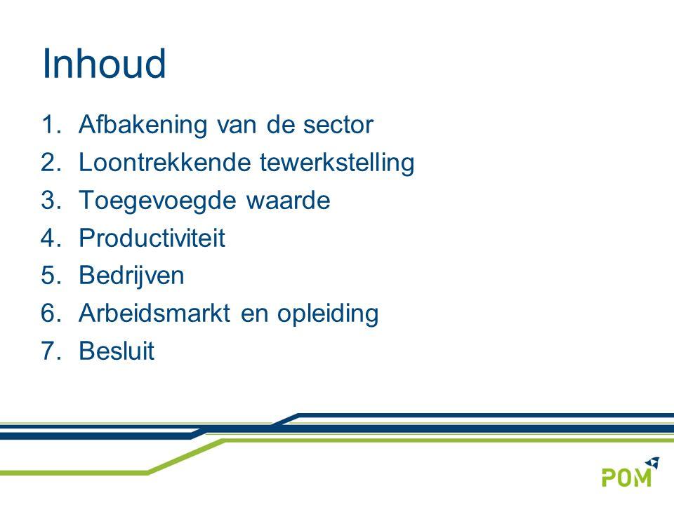 Inhoud 1.Afbakening van de sector 2.Loontrekkende tewerkstelling 3.Toegevoegde waarde 4.Productiviteit 5.Bedrijven 6.Arbeidsmarkt en opleiding 7.Besluit