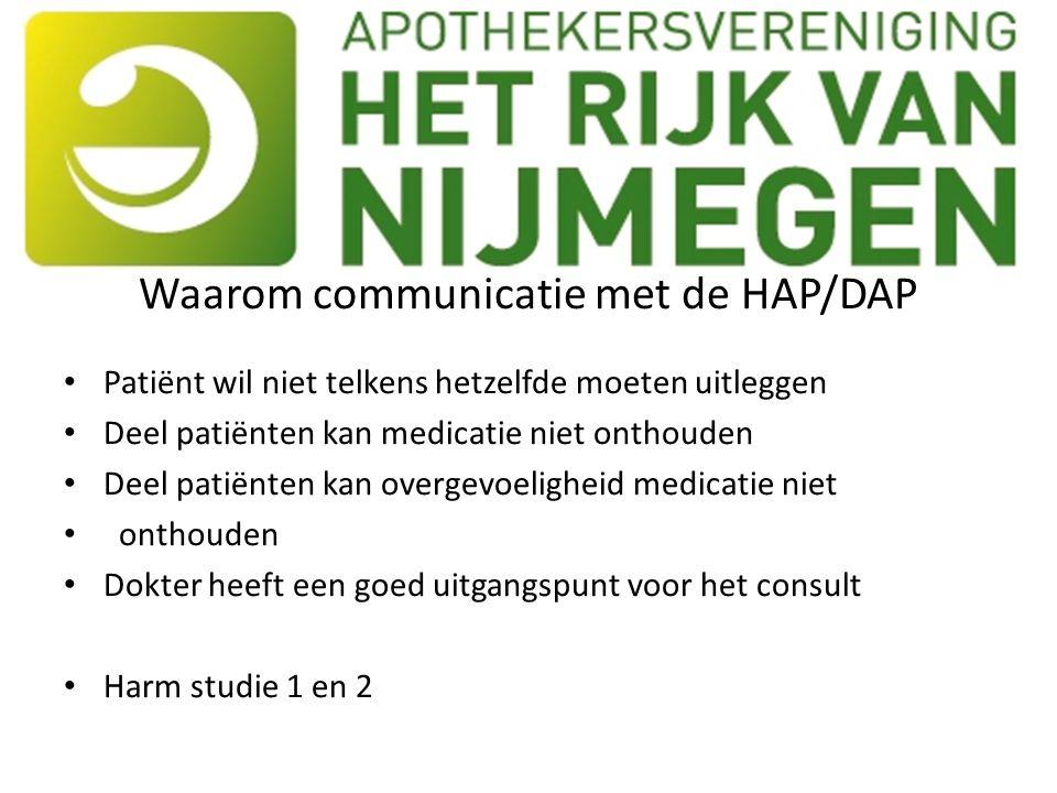 Waarom communicatie met de HAP/DAP Patiënt wil niet telkens hetzelfde moeten uitleggen Deel patiënten kan medicatie niet onthouden Deel patiënten kan overgevoeligheid medicatie niet onthouden Dokter heeft een goed uitgangspunt voor het consult Harm studie 1 en 2