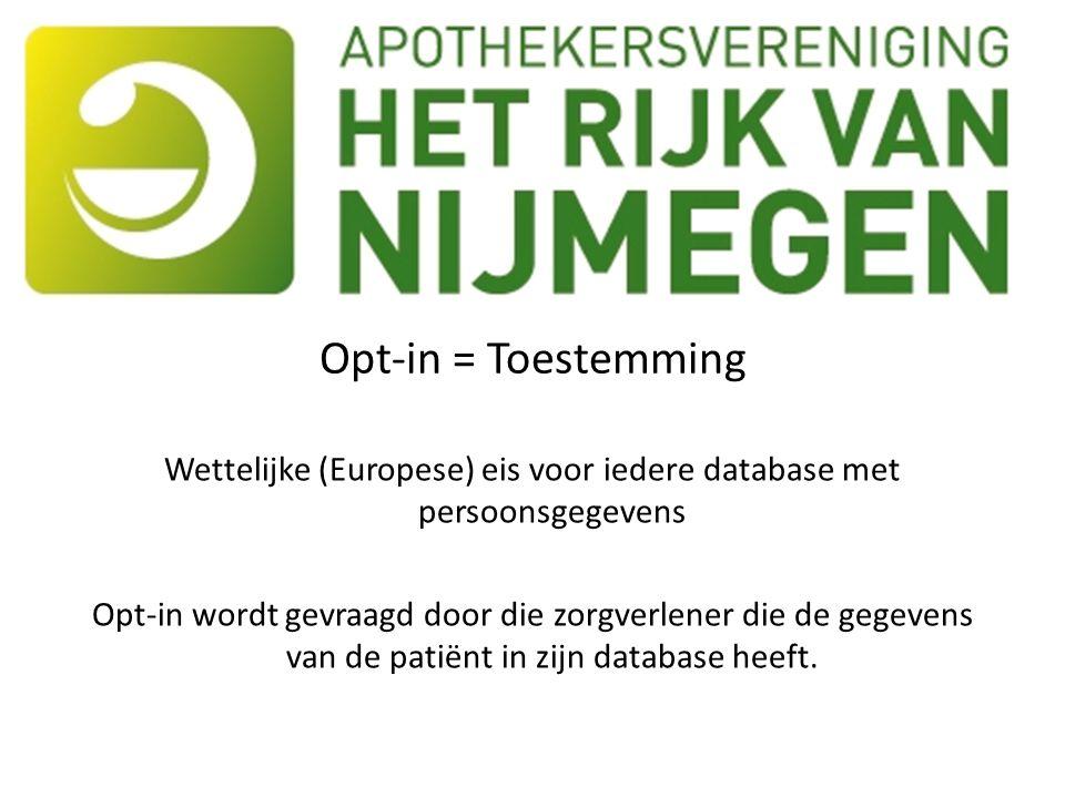 Opt-in = Toestemming Wettelijke (Europese) eis voor iedere database met persoonsgegevens Opt-in wordt gevraagd door die zorgverlener die de gegevens van de patiënt in zijn database heeft.
