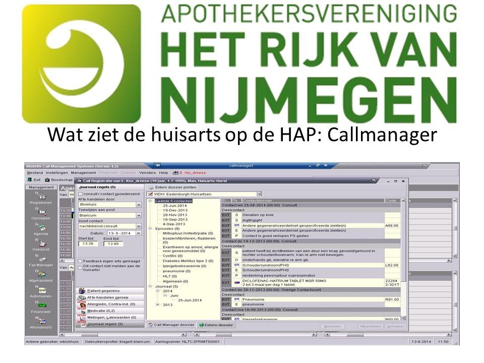 Wat ziet de huisarts op de HAP: Callmanager