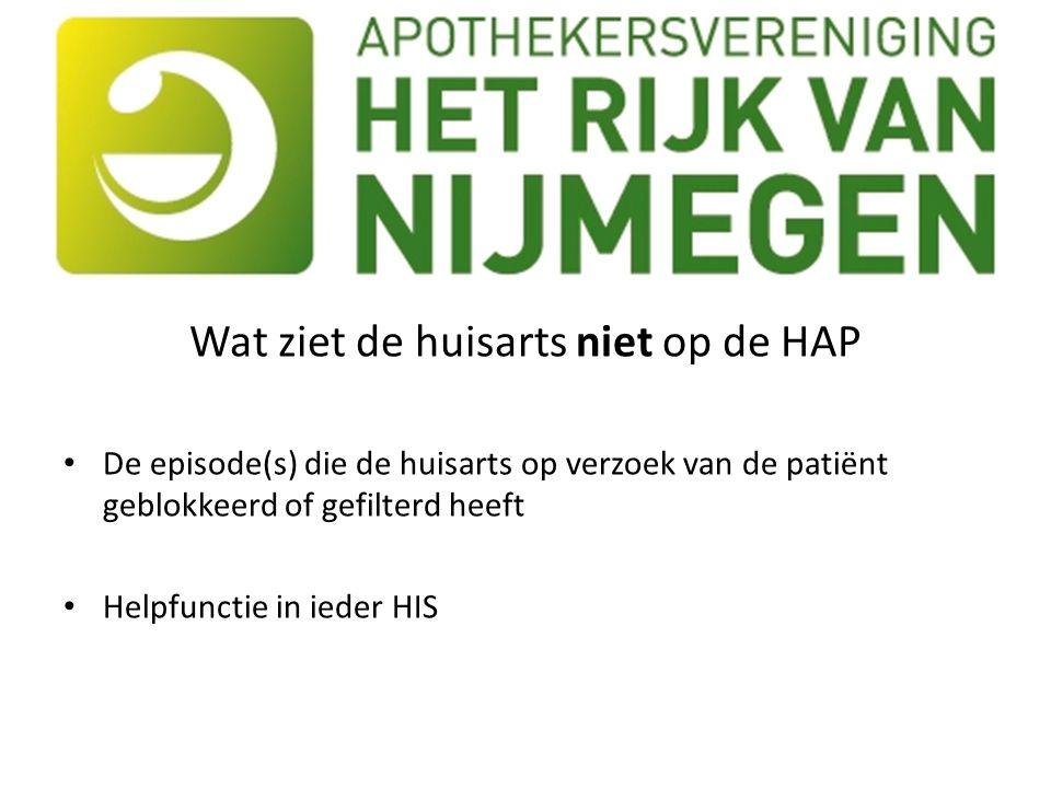 Wat ziet de huisarts niet op de HAP De episode(s) die de huisarts op verzoek van de patiënt geblokkeerd of gefilterd heeft Helpfunctie in ieder HIS