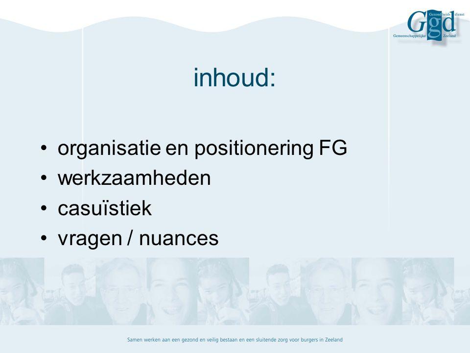 inhoud: organisatie en positionering FG werkzaamheden casuïstiek vragen / nuances