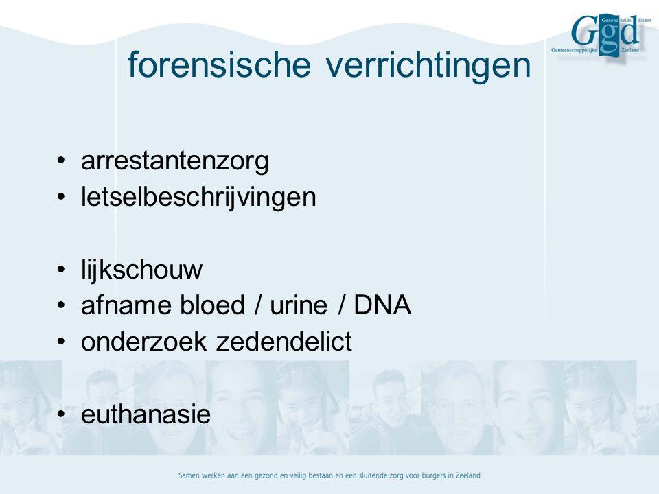 forensische verrichtingen arrestantenzorg letselbeschrijvingen lijkschouw afname bloed / urine / DNA onderzoek zedendelict euthanasie