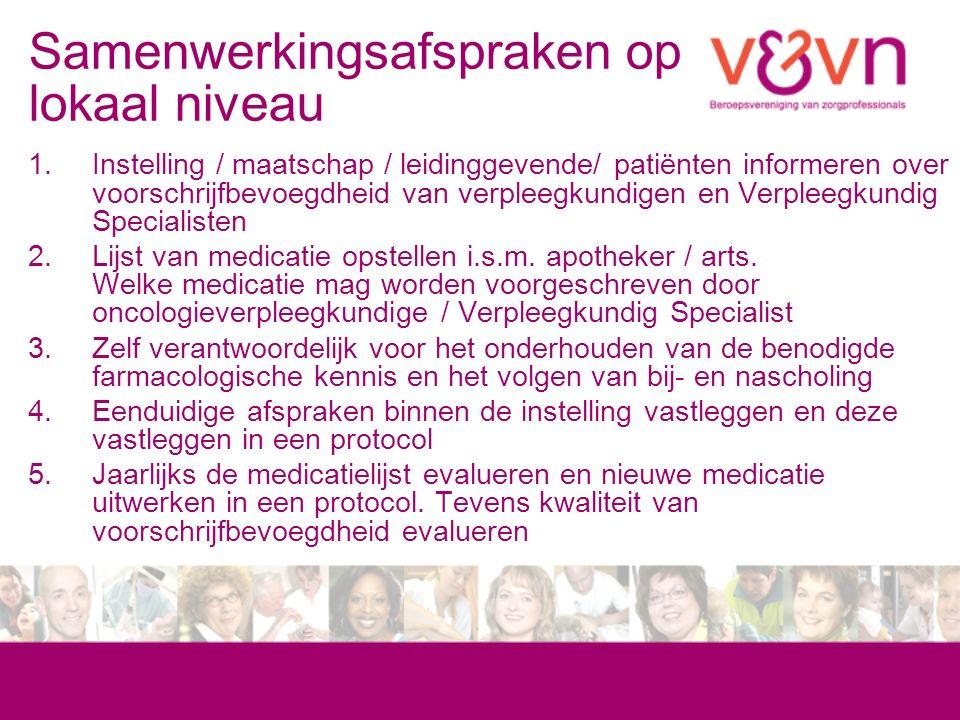 Samenwerkingsafspraken op lokaal niveau 1.Instelling / maatschap / leidinggevende/ patiënten informeren over voorschrijfbevoegdheid van verpleegkundigen en Verpleegkundig Specialisten 2.Lijst van medicatie opstellen i.s.m.