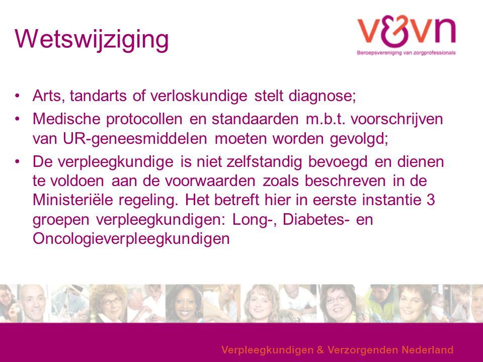Wetswijziging Arts, tandarts of verloskundige stelt diagnose; Medische protocollen en standaarden m.b.t.