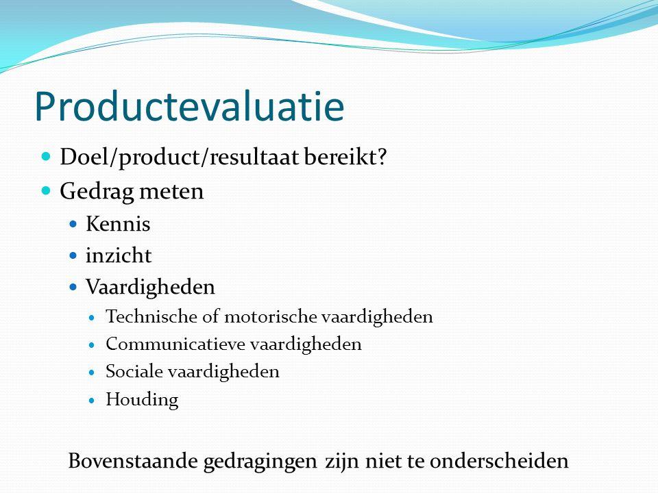 Productevaluatie Doel/product/resultaat bereikt.