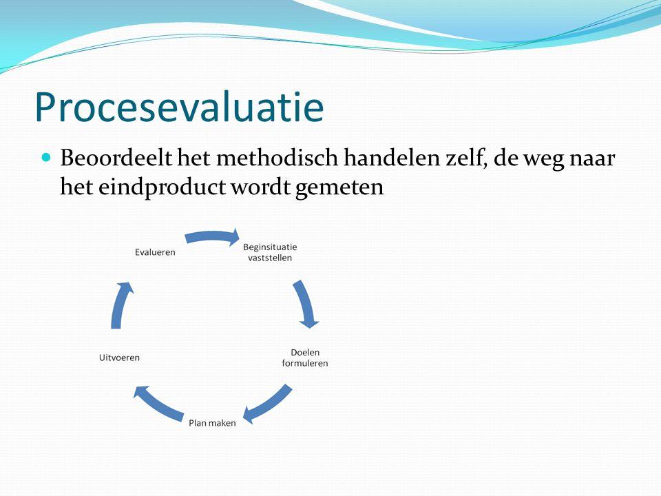 Procesevaluatie Beoordeelt het methodisch handelen zelf, de weg naar het eindproduct wordt gemeten