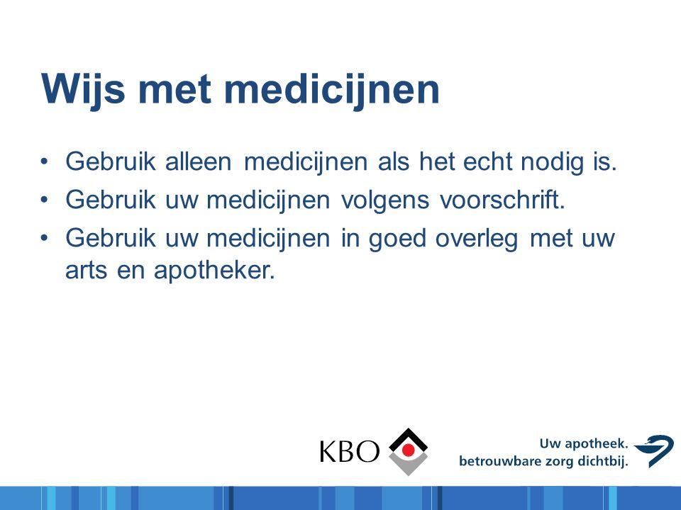 Wijs met medicijnen Gebruik alleen medicijnen als het echt nodig is. Gebruik uw medicijnen volgens voorschrift. Gebruik uw medicijnen in goed overleg