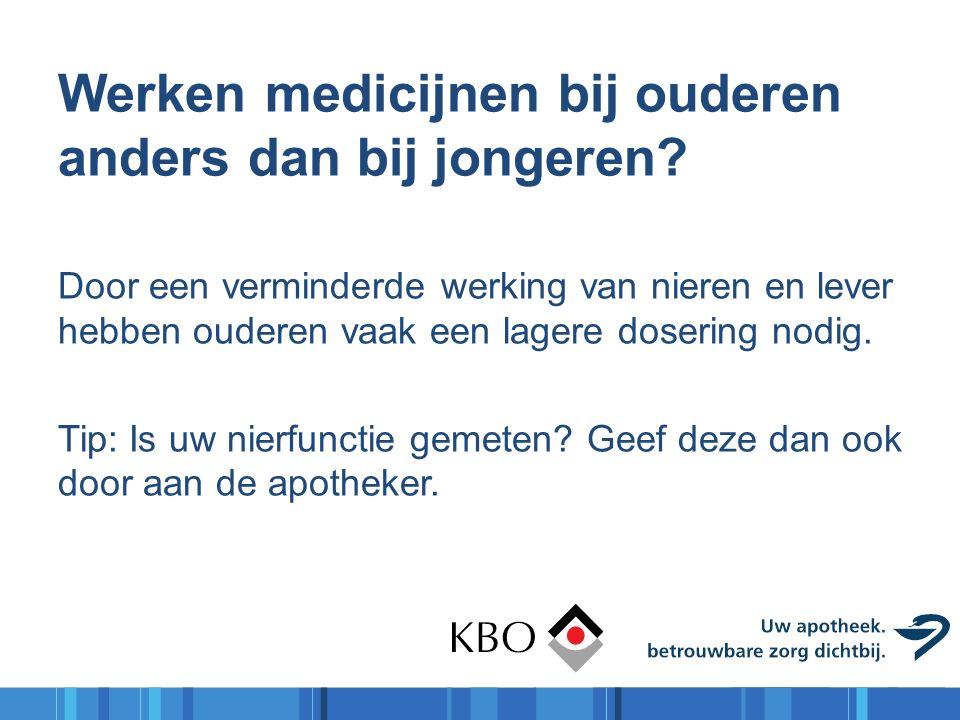 Werken medicijnen bij ouderen anders dan bij jongeren? Door een verminderde werking van nieren en lever hebben ouderen vaak een lagere dosering nodig.