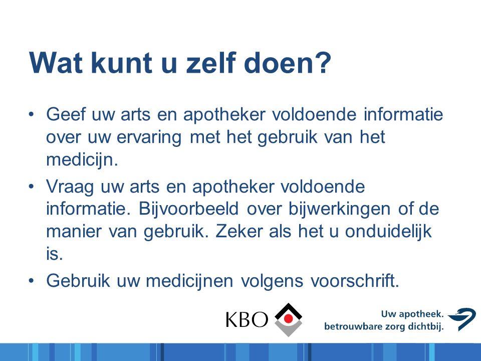 Wat kunt u zelf doen? Geef uw arts en apotheker voldoende informatie over uw ervaring met het gebruik van het medicijn. Vraag uw arts en apotheker vol