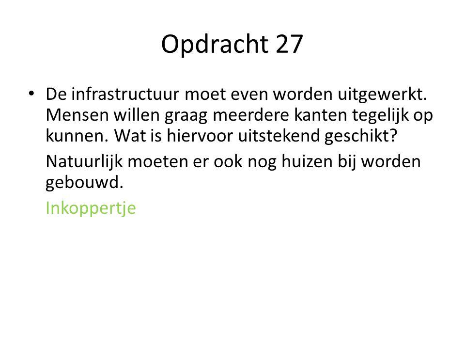 Opdracht 27 De infrastructuur moet even worden uitgewerkt.