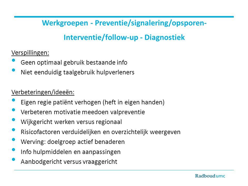 Verspillingen: Geen optimaal gebruik bestaande info Niet eenduidig taalgebruik hulpverleners Verbeteringen/ideeën: Eigen regie patiënt verhogen (heft