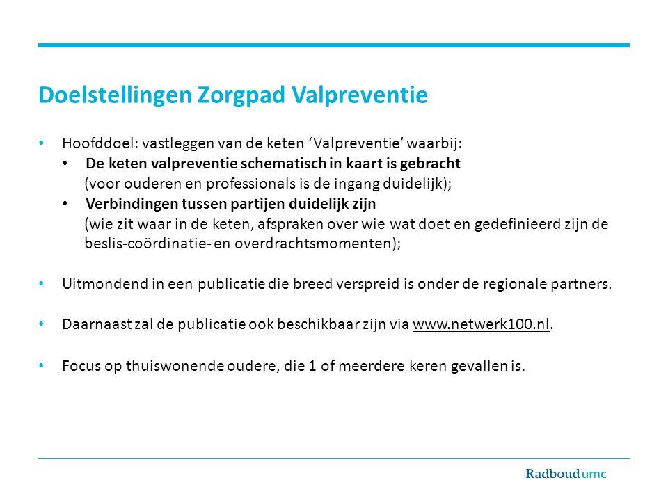 Doelstellingen Zorgpad Valpreventie Hoofddoel: vastleggen van de keten 'Valpreventie' waarbij: De keten valpreventie schematisch in kaart is gebracht