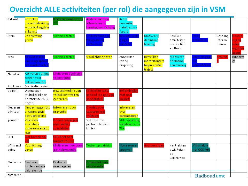 Overzicht ALLE activiteiten (per rol) die aangegeven zijn in VSM