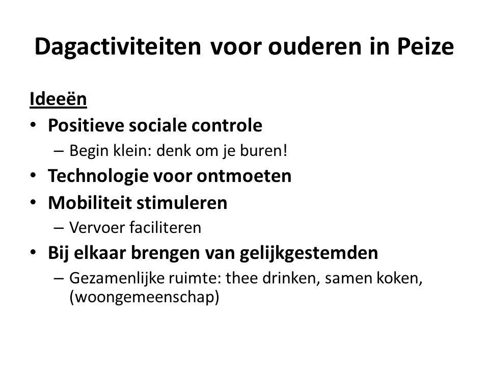 Dagactiviteiten voor ouderen in Peize Ideeën Positieve sociale controle – Begin klein: denk om je buren.