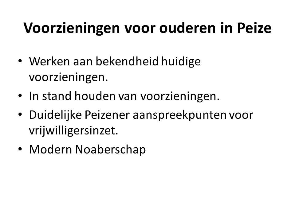 Voorzieningen voor ouderen in Peize Werken aan bekendheid huidige voorzieningen.