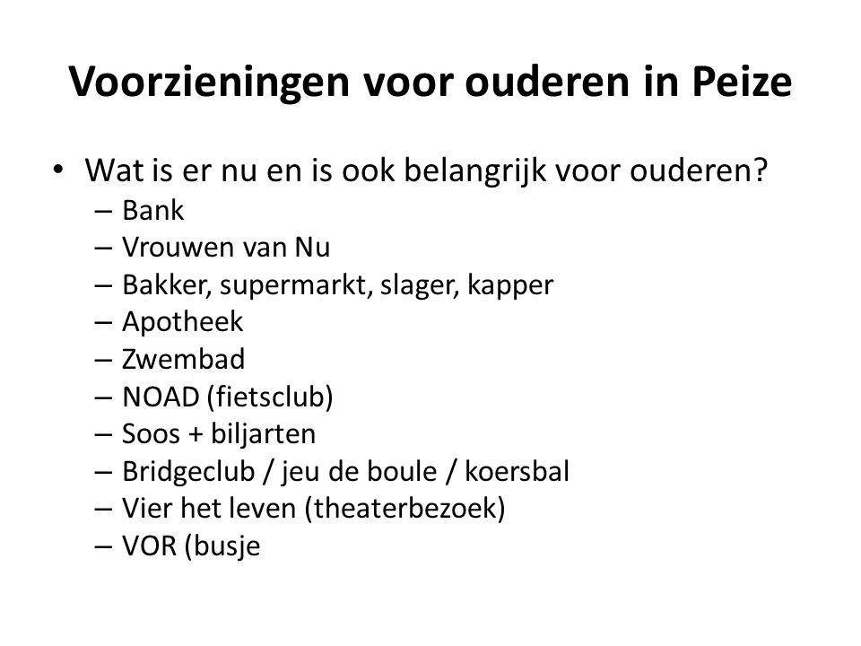Voorzieningen voor ouderen in Peize Wat is er nu en is ook belangrijk voor ouderen? – Bank – Vrouwen van Nu – Bakker, supermarkt, slager, kapper – Apo