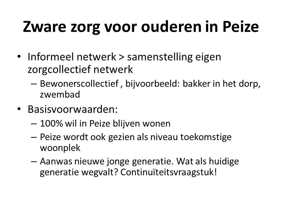 Zware zorg voor ouderen in Peize Informeel netwerk > samenstelling eigen zorgcollectief netwerk – Bewonerscollectief, bijvoorbeeld: bakker in het dorp, zwembad Basisvoorwaarden: – 100% wil in Peize blijven wonen – Peize wordt ook gezien als niveau toekomstige woonplek – Aanwas nieuwe jonge generatie.