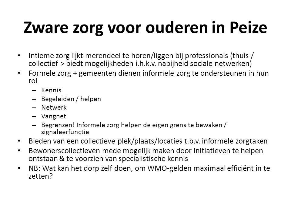 Zware zorg voor ouderen in Peize Intieme zorg lijkt merendeel te horen/liggen bij professionals (thuis / collectief > biedt mogelijkheden i.h.k.v. nab