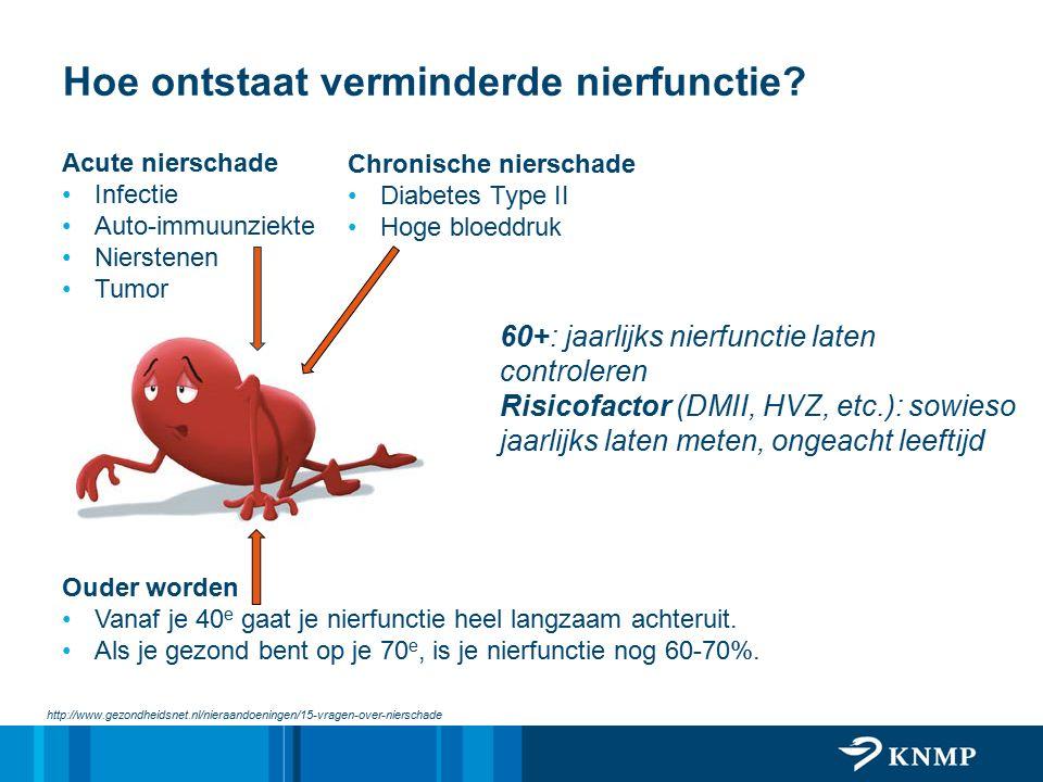 Hoe ontstaat verminderde nierfunctie? http://www.gezondheidsnet.nl/nieraandoeningen/15-vragen-over-nierschade Acute nierschade Infectie Auto-immuunzie