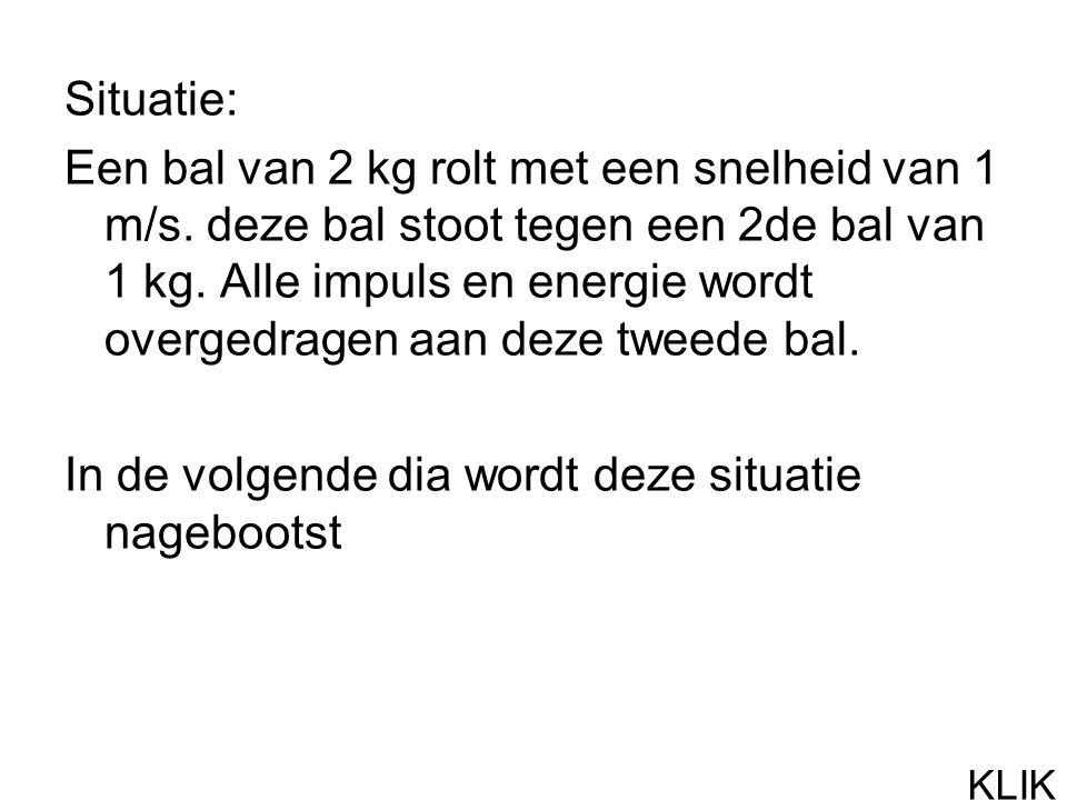 Situatie: Een bal van 2 kg rolt met een snelheid van 1 m/s.