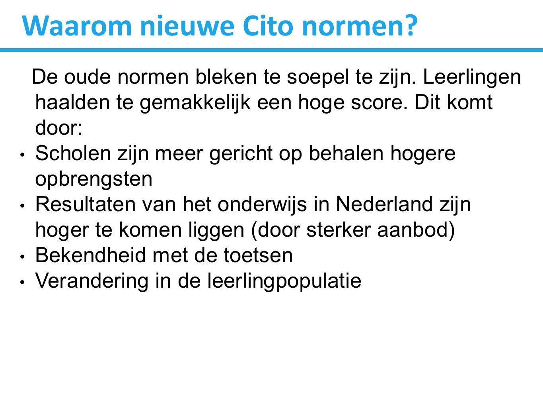 Effect nieuwe normen Cito legt dit als volgt uit: Heel vroeger was je lang wanneer je 1.70 cm was.