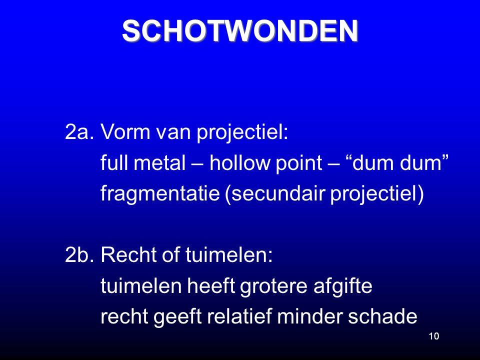 """10SCHOTWONDEN 2a. Vorm van projectiel: full metal – hollow point – """"dum dum"""" fragmentatie (secundair projectiel) 2b. Recht of tuimelen: tuimelen heeft"""