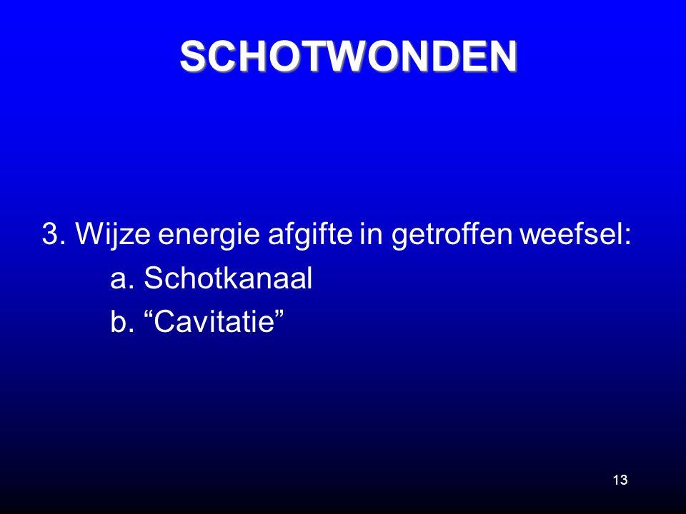 """13 3. Wijze energie afgifte in getroffen weefsel: a. Schotkanaal b. """"Cavitatie""""SCHOTWONDEN"""