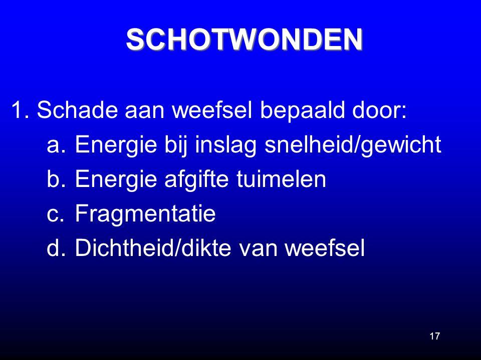 17 1. Schade aan weefsel bepaald door: a.Energie bij inslag snelheid/gewicht b.Energie afgifte tuimelen c.Fragmentatie d.Dichtheid/dikte van weefselSC