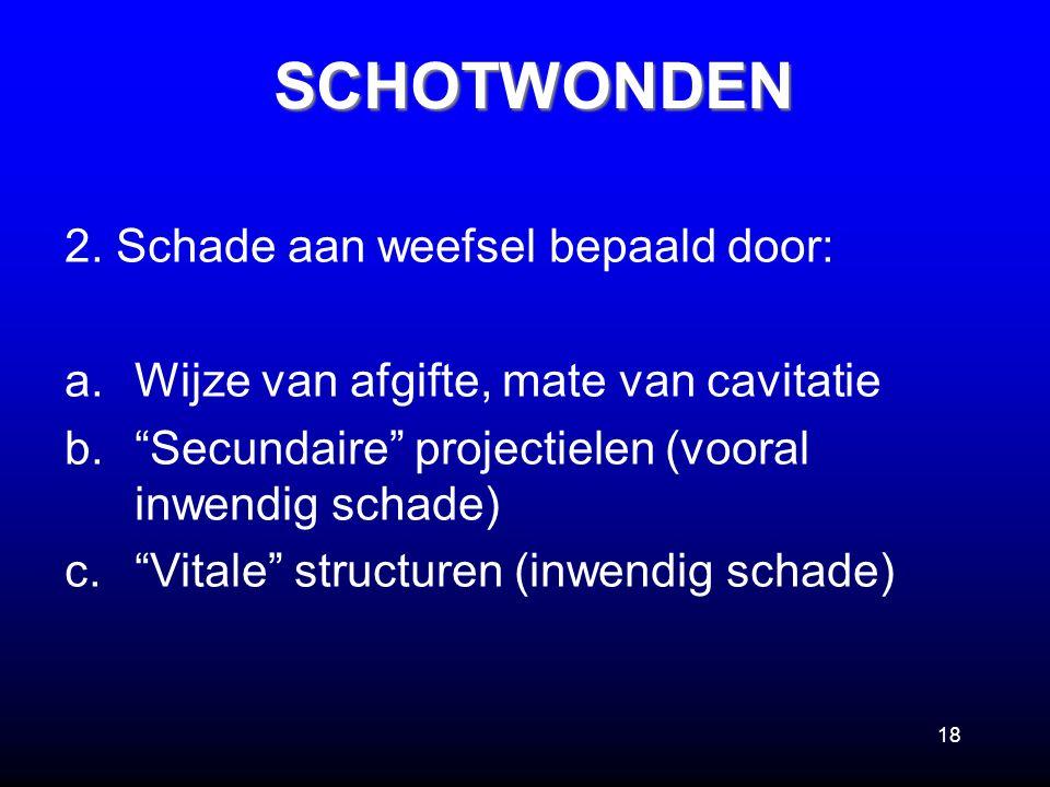 """18 2. Schade aan weefsel bepaald door: a.Wijze van afgifte, mate van cavitatie b.""""Secundaire"""" projectielen (vooral inwendig schade) c.""""Vitale"""" structu"""